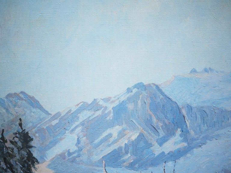 Winter Snow Painting, R.Nette, Alpspitze Oil on Canvas, 1950 In Excellent Condition For Sale In Albignasego, IT