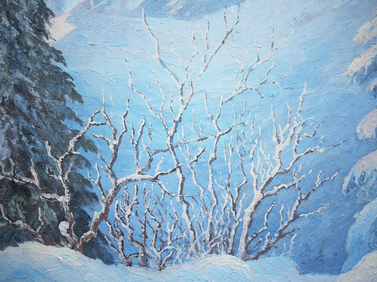 1950s Winter Snow Painting, R.Nette, Alpspitze Oil on Canvas, 1950 For Sale