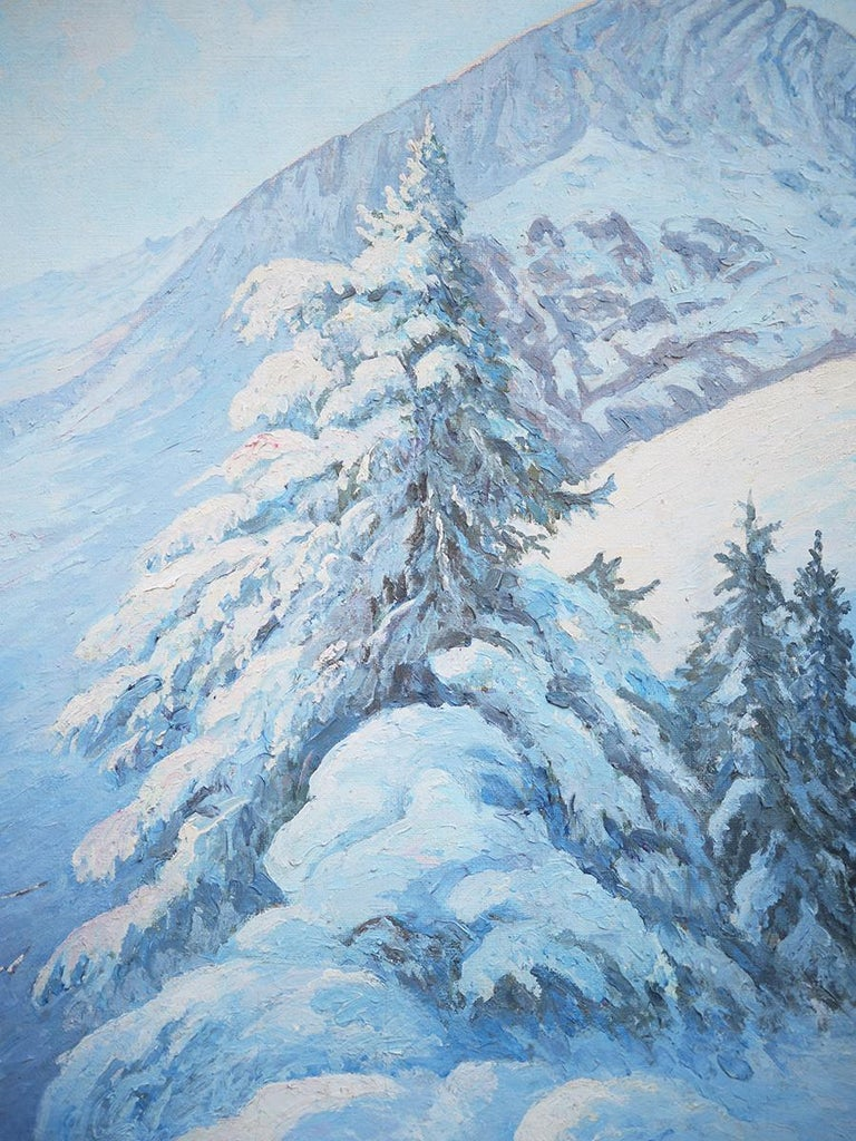 Winter Snow Painting, R.Nette, Alpspitze Oil on Canvas, 1950 For Sale 1