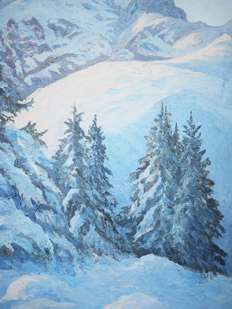 Winter Snow Painting, R.Nette, Alpspitze Oil on Canvas, 1950 For Sale 2