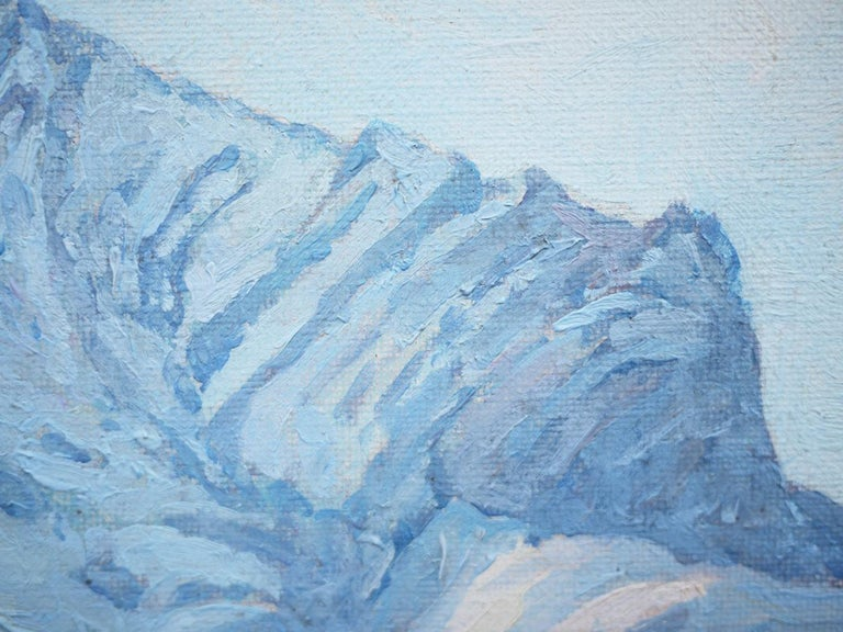 Winter Snow Painting, R.Nette, Alpspitze Oil on Canvas, 1950 For Sale 4