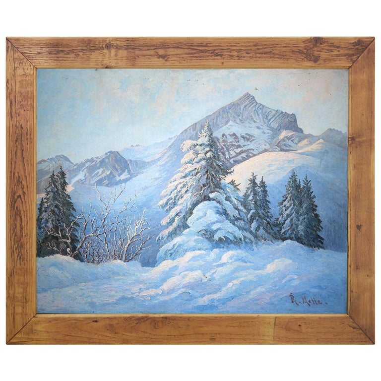 Winter Snow Painting, R.Nette, Alpspitze Oil on Canvas, 1950 For Sale