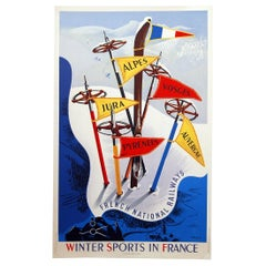Winter Sports in France Poster by Vecoux for Paul Martial, 1947