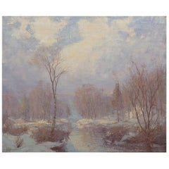 """""""Winter Stream"""" Landscape Oil Painting by Hal Robinson (American, 1875-1933)"""