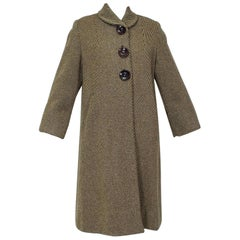 Winter-Weight Brown Shawl Collar Swing Coat with Detachable Lining - M, 1950s
