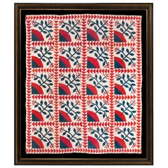Winterberry and Flying Geese Pattern Quilt, circa 1860-1870