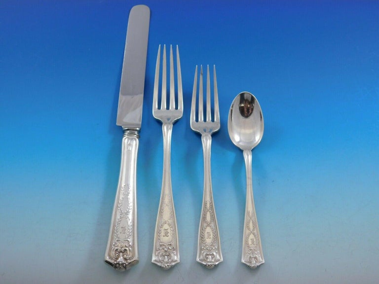 Winthrop by Tiffany Sterling Silver Flatware Set 8 Service 40 Pcs Dinner In Excellent Condition For Sale In Big Bend, WI