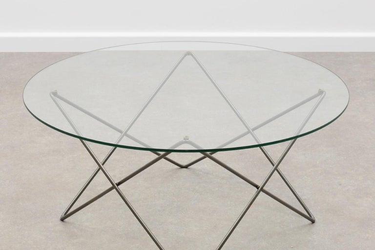 20th Century Wire and Glass Round Coffee Table 80s For Sale