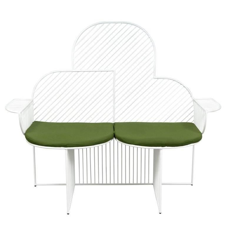 The cloud bench is inspired by the grand curves of its natural cumulus counterpart. The 1970s textile and sculptural design of this bench allows the piece to become a functional work of art that is aesthetically bold. Made for indoor and outdoor