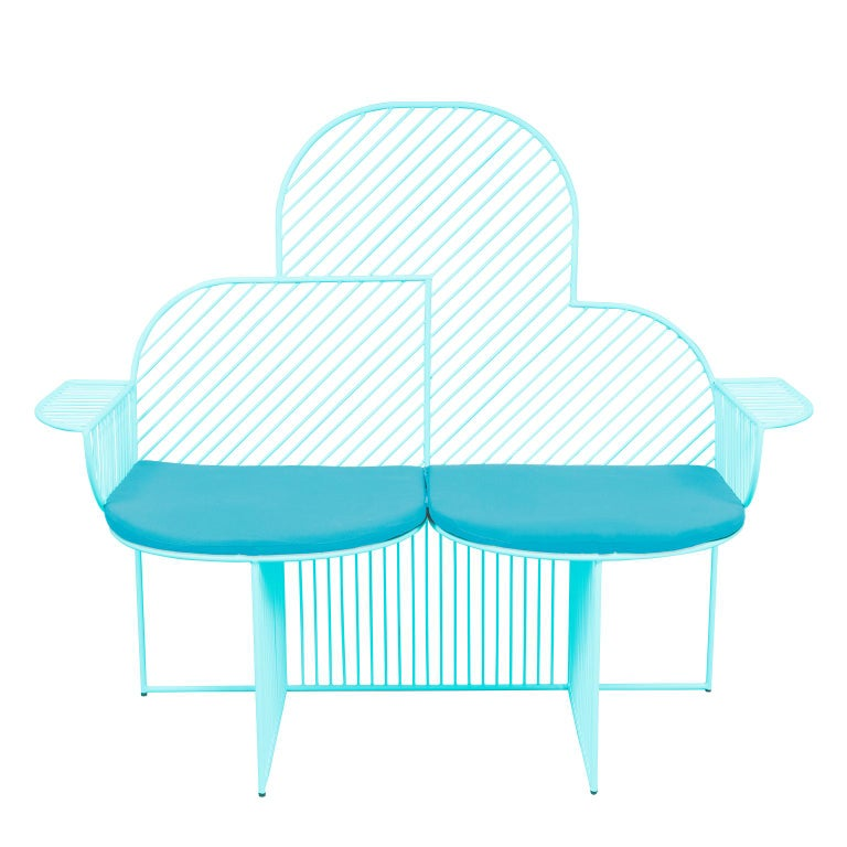 Galvanized Wire Cloud Bench in Blue by Bend Goods For Sale