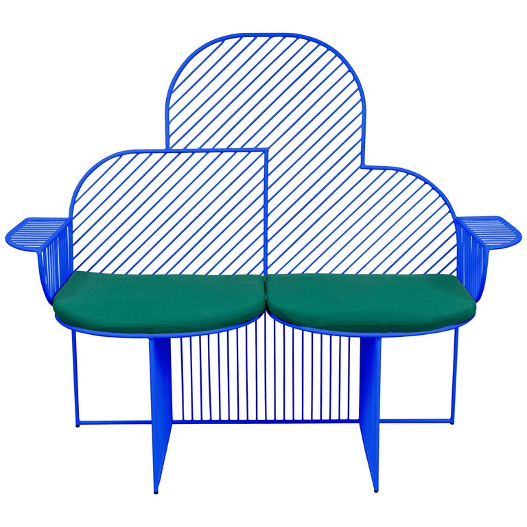 Wire Cloud Bench in Blue by Bend Goods For Sale