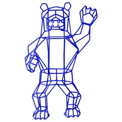 "Wire Decor ""Marching Bear"" in Electric Blue by Bend Goods"