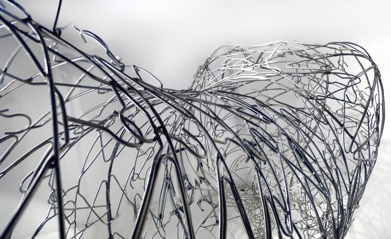 Massive Horse Sculpture Crafted From 1000 Chrome Coat Hangers for Barneys NY For Sale 3