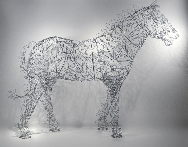 Massive Horse Sculpture Crafted From 1000 Chrome Coat Hangers for Barneys NY In Good Condition For Sale In Dallas, TX