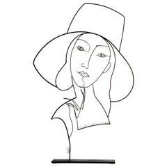 Wire Sculpture, La Dame au Chapeau