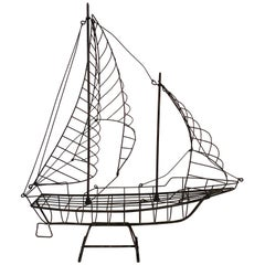 Wire Sculpture of a Ship with Sails