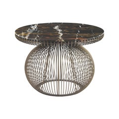 Wire Side Table in Metal Base with Marble Top by Roberto Cavalli