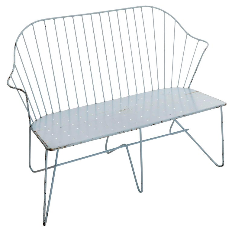 A settee model 'Astoria' from the 'SONETT' series designed by J.O.Wladar & V. Mödlhammer and manufactured by Karl Fostel Sen.'s Erben, Austria, manufactured in midcentury, circa 1950.  The piece can be used indoor and outdoor. It is made of light