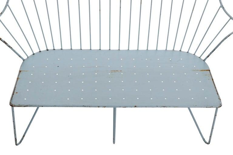 Mid-20th Century Wire Steel Light Blue Bench Settee 'Astoria' Sonett, Karl Fostel, Austria, 1950s For Sale