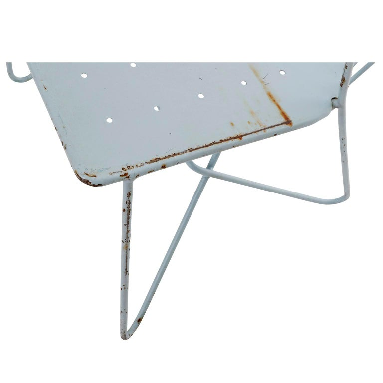 Metal Wire Steel Light Blue Bench Settee 'Astoria' Sonett, Karl Fostel, Austria, 1950s For Sale