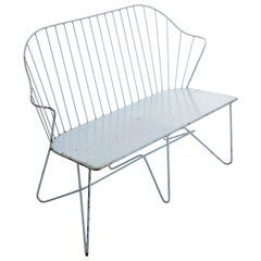 Wire Steel Light Blue Bench Settee 'Astoria' Sonett, Karl Fostel, Austria, 1950s