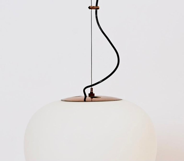 Italian Wire-Suspended Opaline Glass Ceiling Pendant by Stilnovo, Italy, circa 1955 For Sale
