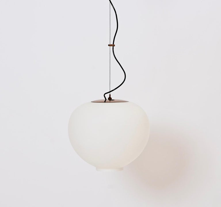 Mid-20th Century Wire-Suspended Opaline Glass Ceiling Pendant by Stilnovo, Italy, circa 1955 For Sale