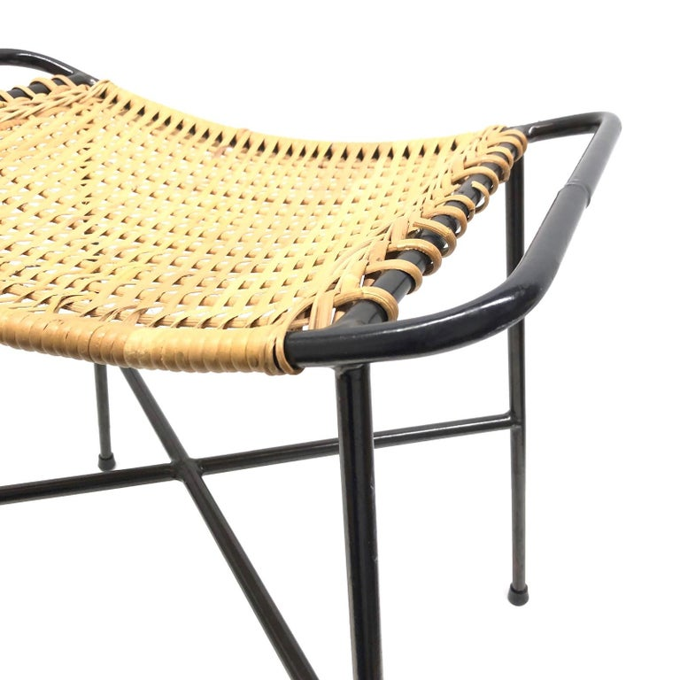 Brilliant Wire Wicker Work Mid Century Modern Footrest Ottoman Stool String Style 1950S Evergreenethics Interior Chair Design Evergreenethicsorg