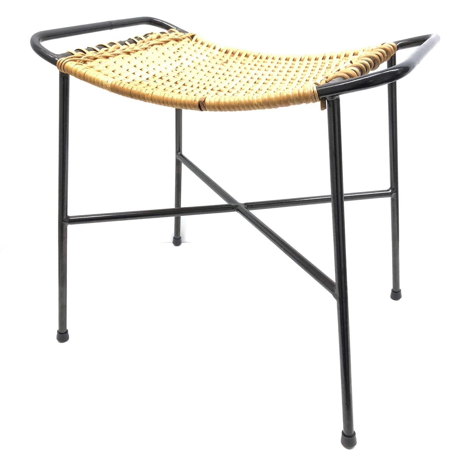 Surprising Wire Wicker Work Mid Century Modern Footrest Ottoman Stool String Style 1950S Evergreenethics Interior Chair Design Evergreenethicsorg