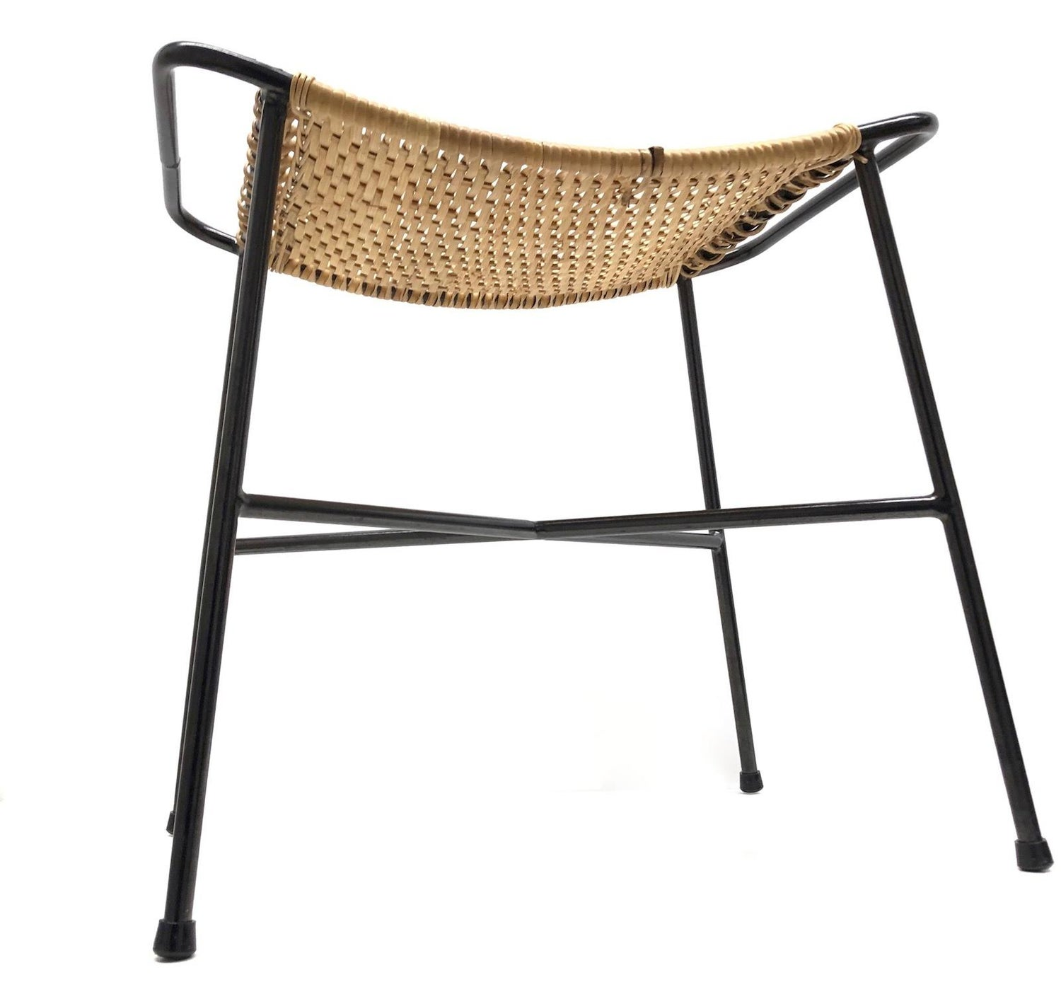 Incredible Wire Wicker Work Mid Century Modern Footrest Ottoman Stool String Style 1950S Evergreenethics Interior Chair Design Evergreenethicsorg
