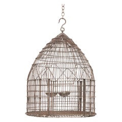Wire Wrapped Dome Shape Iron Bird Cage, 19th Century