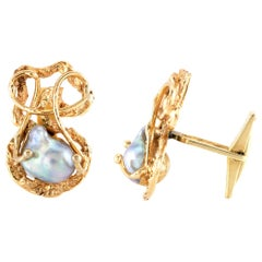 Wired Gold Cufflinks with Natural Pearls