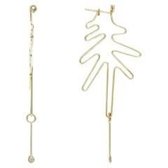Wired Hoop 9 Karat Yellow Gold and Diamond Earrings