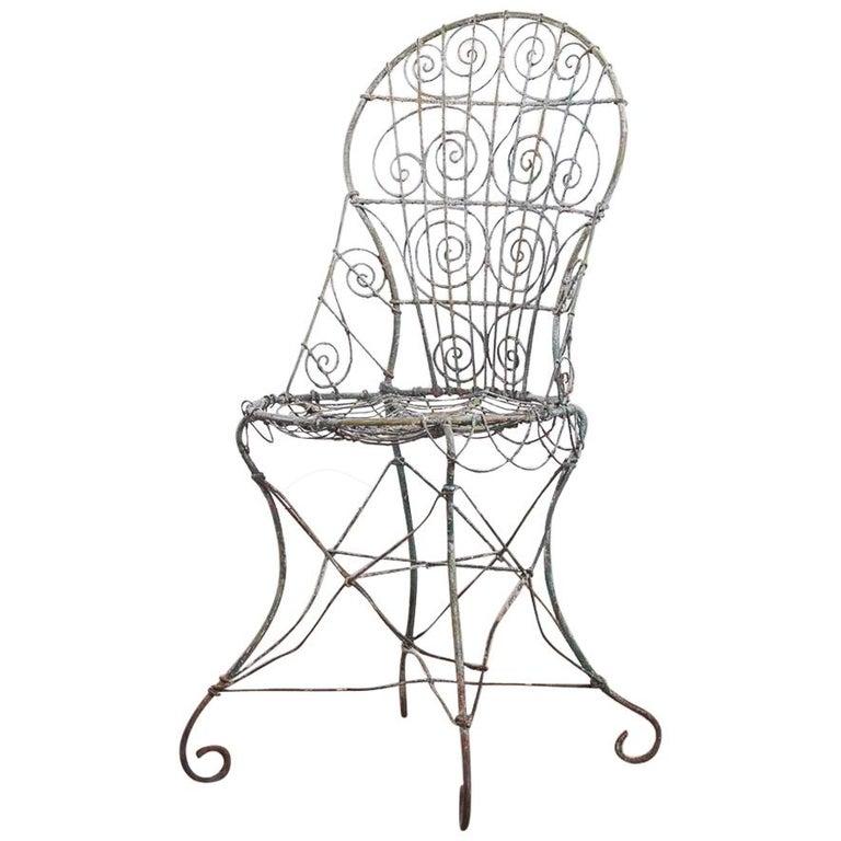 Wirework Garden Chair, Circa 1820 For Sale