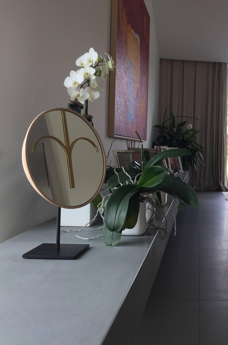 Wise Mirror Bikita, Brown Walnut Modern Tribal Mask, black base Available NOW For Sale 6