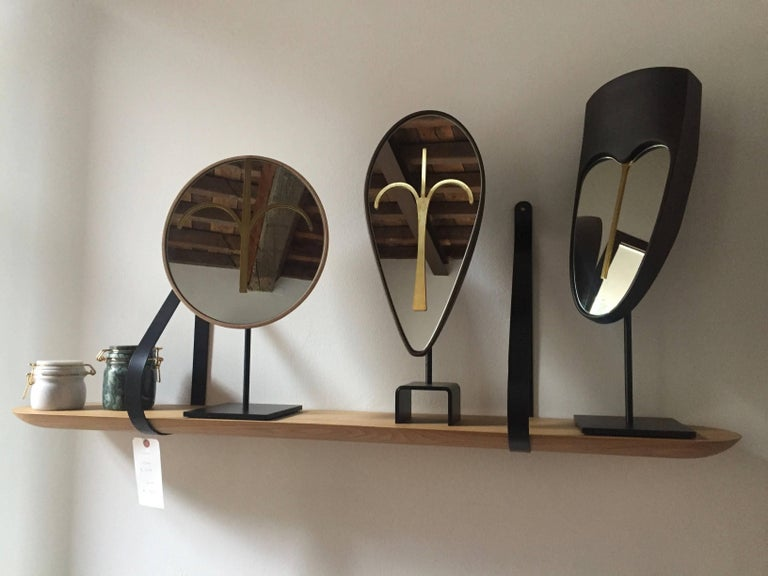 Wise Mirror Bikita, Brown Walnut Modern Tribal Mask, black base Available NOW For Sale 10