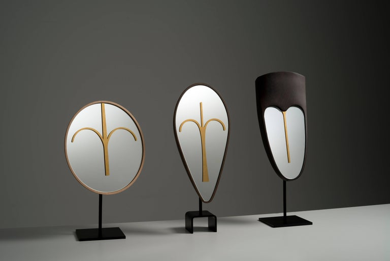 Wise Mirror Eze, Brown Wengè Modern Tribal Mask, Black Metal Base, Available NOW For Sale 1