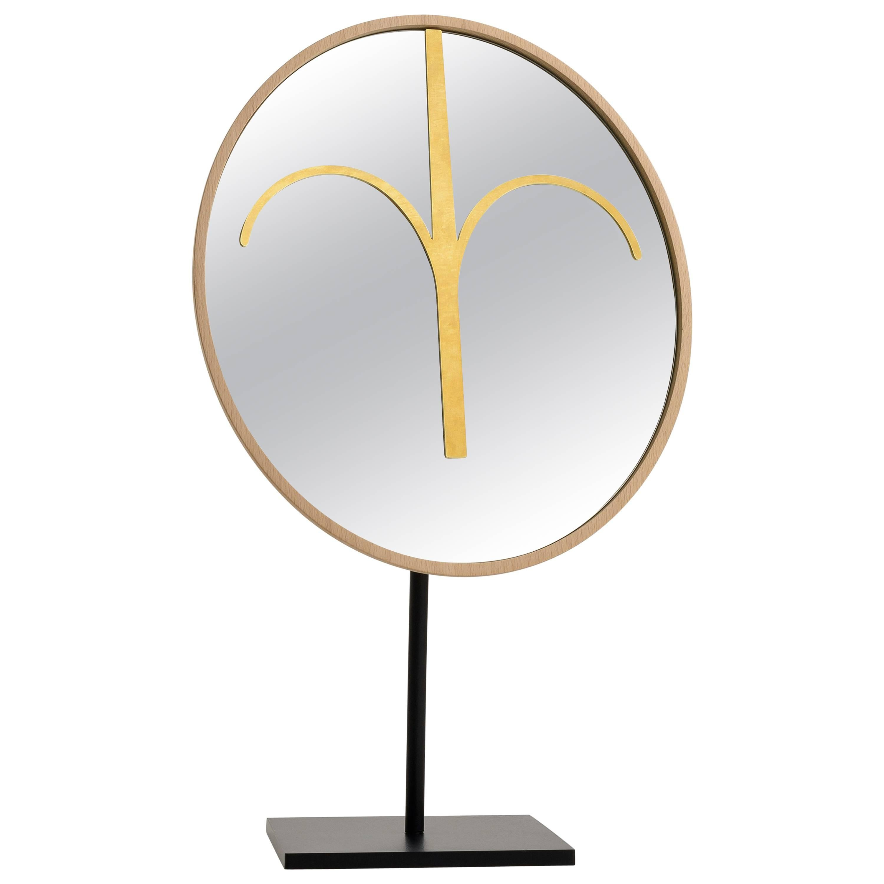 Wise Mirror Haua, Modern Tribal Mask and Mirror, Sculpture in solid beach wood