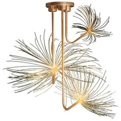 """Wish"" Dandelion Sculpture Pendant Lamp, Optic Fiber, Brass, Silvered Glass"