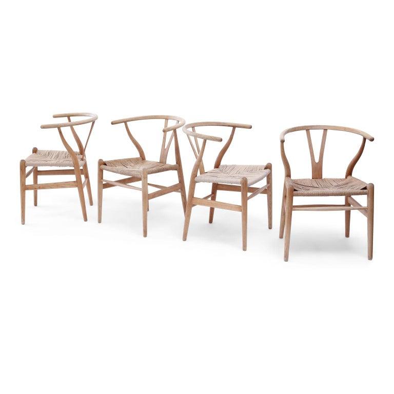 Oak Wishbone Armchairs by Hans Wegner For Sale 3