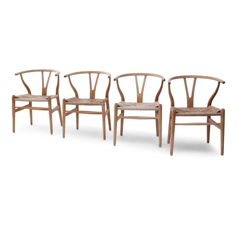 Mid-Century Modern Oak Wishbone Armchairs by Hans Wegner For Sale
