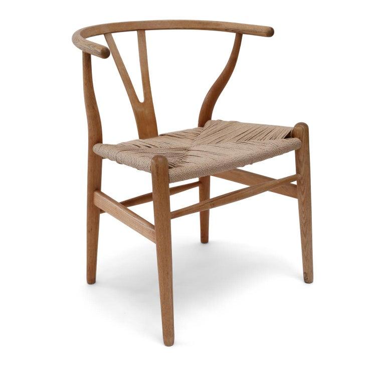 Danish Oak Wishbone Armchairs by Hans Wegner For Sale
