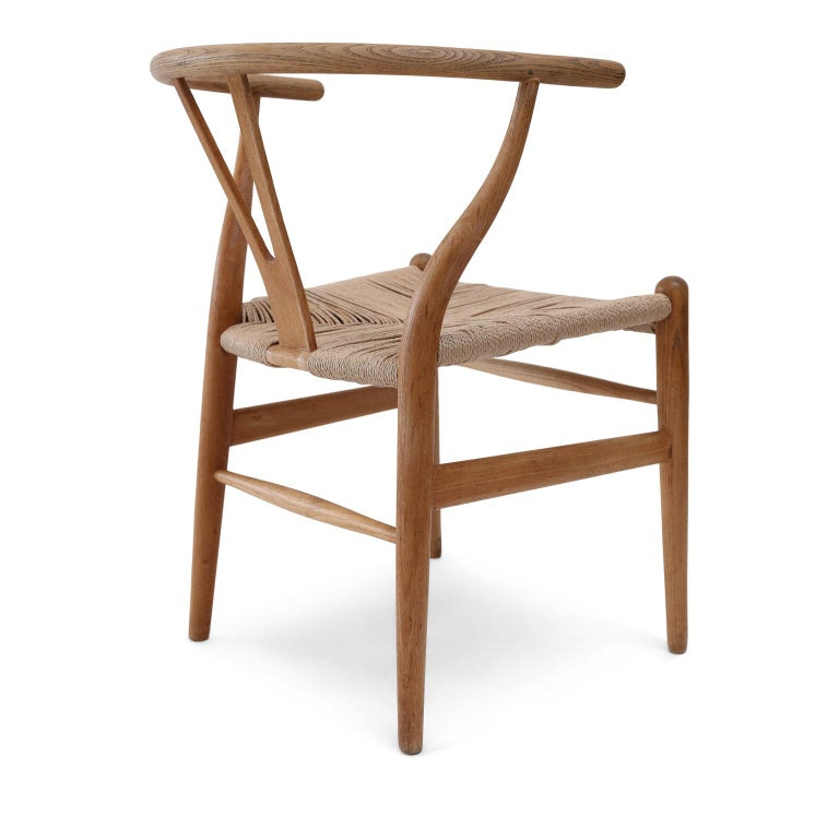 Carved Oak Wishbone Armchairs by Hans Wegner For Sale