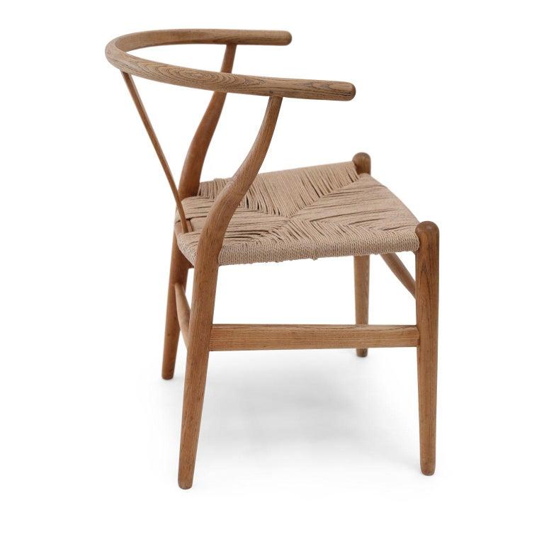 Oak Wishbone Armchairs by Hans Wegner In Good Condition For Sale In Houston, TX