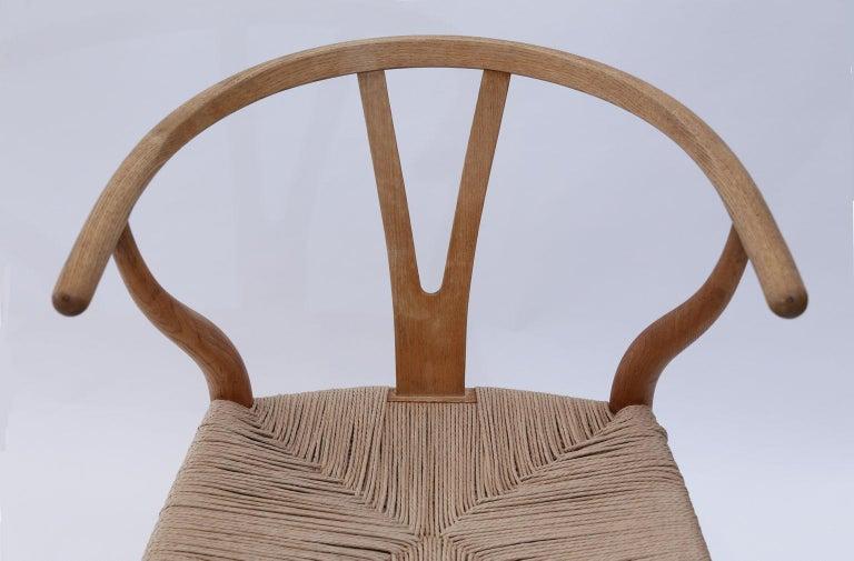 Rush Oak Wishbone Armchairs by Hans Wegner For Sale