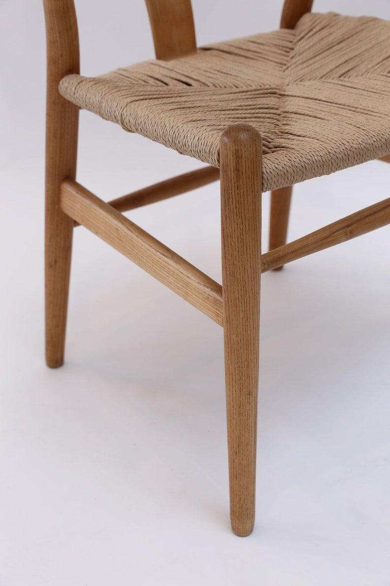 Oak Wishbone Armchairs by Hans Wegner For Sale 1