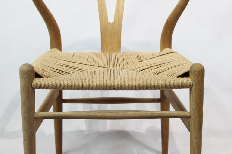 Danish Wishbone Chair, Model CH24, in Oak and Paper Cord by Hans J. Wegner For Sale