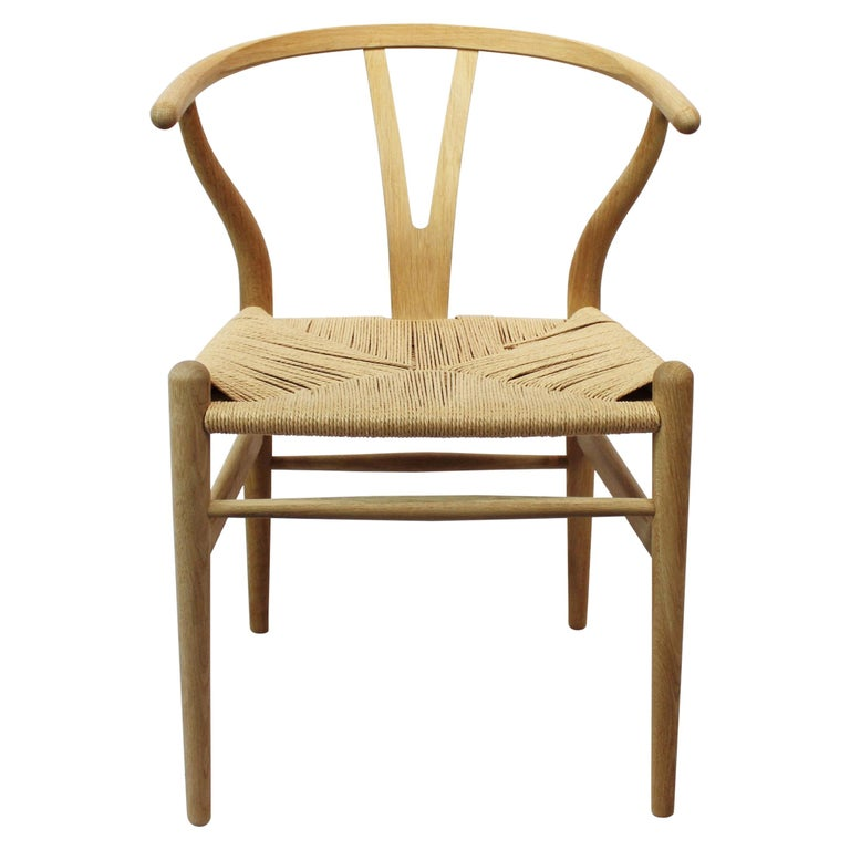 Wishbone Chair, Model CH24, in Oak and Paper Cord by Hans J. Wegner For Sale