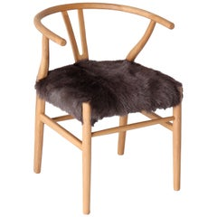 Wishbone Chair with Hair on Hide Seat