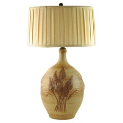 Wishon-Harrell Stoneware Table Lamp with Hand Carved Wheat Motif